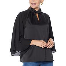 """As Is"" IMAN Global Chic Mock Neck 3/4 Ruffle Sleeve Woven Top"