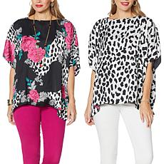 """""""As Is"""" IMAN Global Chic Reversible Printed Poncho Top"""
