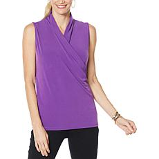"""As Is"" IMAN Global Chic Sleeveless Drape-Front Top"