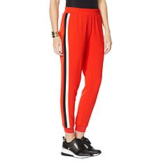 """As Is"" IMAN Global Chic Smocked Waist Side Stripe Jogger Pant"