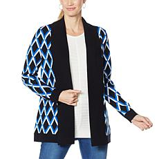 """As Is"" IMAN Global Chic Wide Collar Knitted Cardigan"