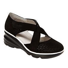 """As Is"" Jambu Originals Belize Perforated Suede Wedge Shoe"