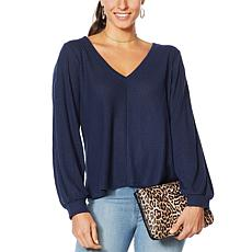 """As Is"" Jessica Simpson Brit Waffle Knit Pullover Top"