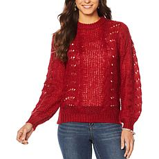 """""""As Is"""" Jessica Simpson Crew-Neck Pointelle Pullover Sweater"""