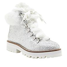 """""""As Is"""" Jessica Simpson Norina Dazzling Hiker Boot with Faux Fur Trim"""