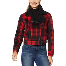 """""""As Is"""" Jessica Simpson Woven Plaid Jacket with Faux Sherpa Detail"""