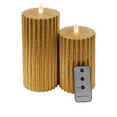 """As Is"" Julien Macdonald LED Glitter Candles Set of 2"