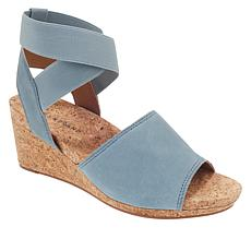 """""""As Is"""" Lucky Brand Kyla Leather Ankle Wrap Wedge Sandal"""