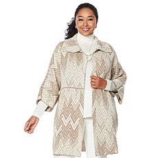 """As Is"" MarlaWynne Jacquard Sweater Knit Topper"