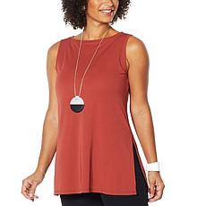 """As Is"" MarlaWynne Luxe Jersey Knit Tunic Tank with Slits"