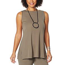 """""""As Is"""" MarlaWynne Luxe Jersey Knit Tunic Tank with Slits"""