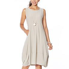 """As Is"" MarlaWynne Matte Jersey Sleeveless Dress with Pockets"