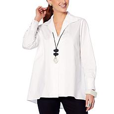 """As Is"" MarlaWynne Poplin Shirt with Button Detail"