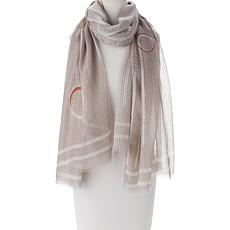 """As Is"" MarlaWynne Striped Circle Print Scarf"