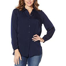 """As Is"" Motto Button-Down Tunic Blouse"