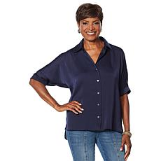 """""""As Is"""" Motto Dolman-Sleeve Satin Button-Down Top"""