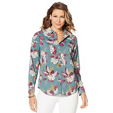 """""""As Is"""" Motto Stretch Chiffon Printed Button-Front Shirt"""