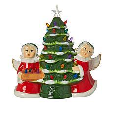 """As Is"" Mr. Christmas 12"" LED Ceramic Nostalgic Tree with Figures"