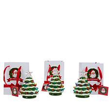 """""""As Is"""" Mr. Christmas Set of 3 Mini Snow-Tipped Nostalgic Trees wit..."""