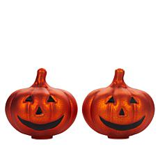 """""""As Is"""" Mr. Halloween Set of 2 Glass Halloween Pumpkins with 6-Hour..."""