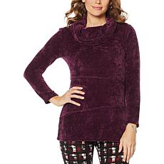 """As Is"" Nina Leonard Chenille Novelty Knit Cowl-Neck Tunic"