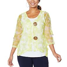 """As Is"" Nina Leonard Coconut Button Bolero with Tank"