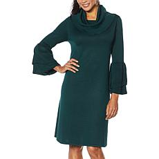 """As Is"" Nina Leonard Cowl-Neck Float Sweater Dress"