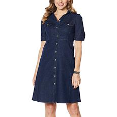 """As Is"" Nina Leonard Denim Button-Up Flare Dress"