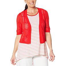 """As Is"" Nina Leonard Elbow-Sleeve Crochet Bolero"