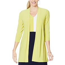 """As Is"" Nina Leonard Hi-Low Cardigan with Back Zipper and Chiffon D..."