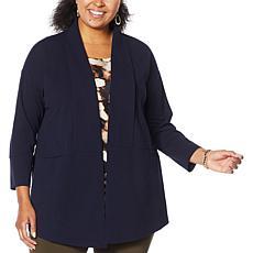 """As Is"" Nina Leonard High Tech Crepe Oversized Blazer"