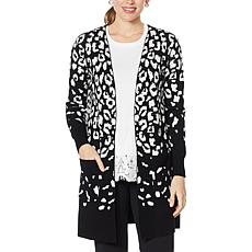 """As Is"" Nina Leonard Jacquard Open-Front Cardigan with Pockets"