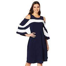 """As Is"" Nina Leonard Miracle Matte Cold-Shoulder Colorblock Dress"