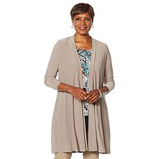 """As Is"" Nina Leonard Miracle Matte Duster Cardigan with Back Tie"