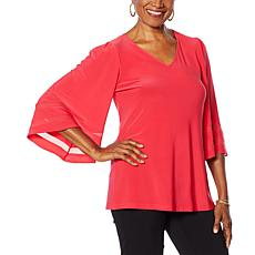 """As Is"" Nina Leonard Miracle Matte Jersey Bell-Sleeve Top"