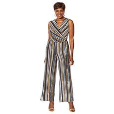 """As Is"" Nina Leonard Miracle Matte Jersey Printed Wrap Jumpsuit"