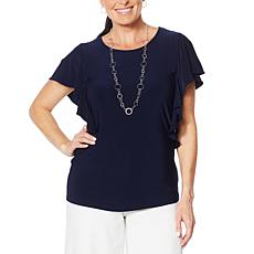 """As Is"" Nina Leonard Miracle Matte Jersey Ruffle-Sleeve Top"