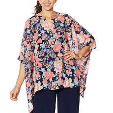 """As Is"" Nina Leonard Printed Chiffon Kimono Tunic with Tank"