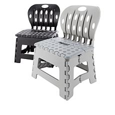 """""""As Is"""" OrganizeMe 2-pack Folding Chair Step Stools"""