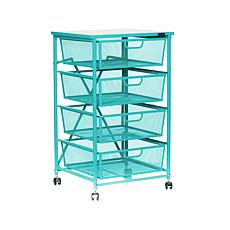 """""""As Is"""" Origami 4-Drawer Cart with Wood Shelf"""