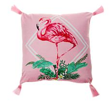"""""""As Is"""" Patricia Altschul Luxe Flamingo Printed 20"""" x 20"""" Pillow"""