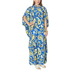 """""""As Is"""" Patricia Altschul Printed Caftan with Beaded Neck"""