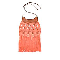 """As Is"" Patricia Nash Noemi Woven Macramé Fringe Crossbody Bag"