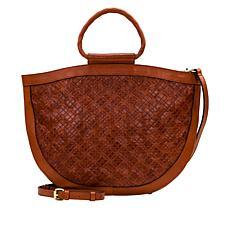 """As Is"" Patricia Nash Oliena Braided Stitch Leather Satchel"