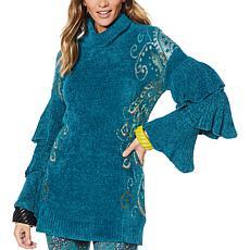 """As Is"" Rara Avis by Iris Apfel Feather Ruffle Sweater"