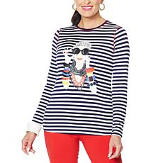 """As Is"" Rara Avis by Iris Apfel Screen-Printed Striped Iris Tee"