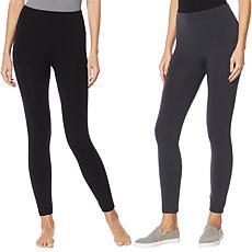 """As Is"" Rhonda Shear 2-pack Fleece Lined Legging - Petite"