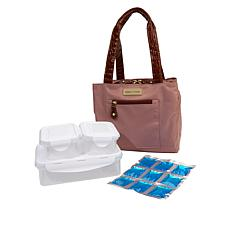 """As Is"" Samantha Brown Basket Cooler Lunch Tote w/Containers"