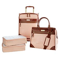 """As Is"" Samantha Brown Croco Embossed Luggage 4-piece Set"