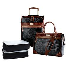 """As Is"" Samantha Brown Croco Embossed Luggage 4-piece Set"